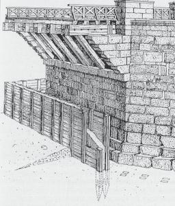 Idee van een pijleropbouw binnen een bekisting, waarbinnen droog gewerkt kon worden.