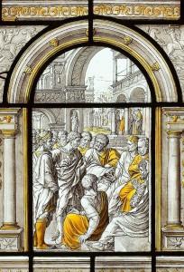 Dirk Crabeth, bijbelscene: Samuël, grisaille colorée - jaune d'argent